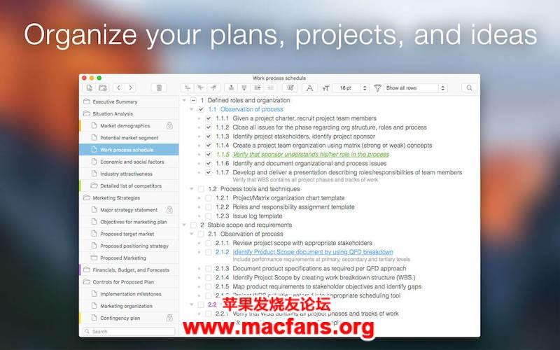 Cloud Outliner Pro 2.5.5 破解版 Mac 大纲概要工具可用来安排组织计划插图